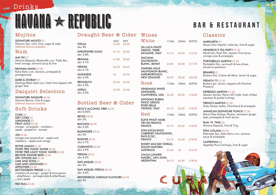 Havan Drinks Menu Oct 15